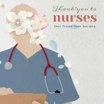 Vielen dank an die krankenschwestern, unsere frontline heroes psd mockup