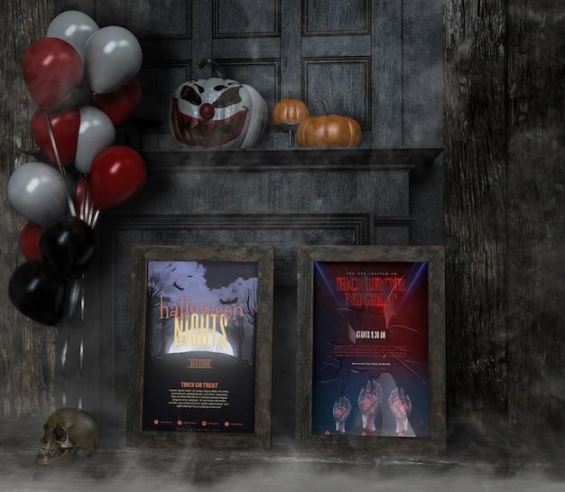 Vielzahl von halloween-rahmenmodellen mit ballonen und kürbisen