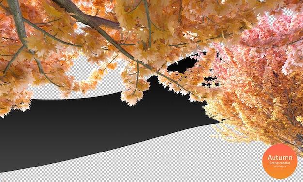 Vielzahl von herbstbäumen bäume spitzen baumzweige im herbst