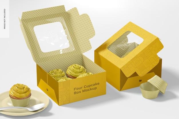 Vier cupcakes boxen mockup, geöffnet