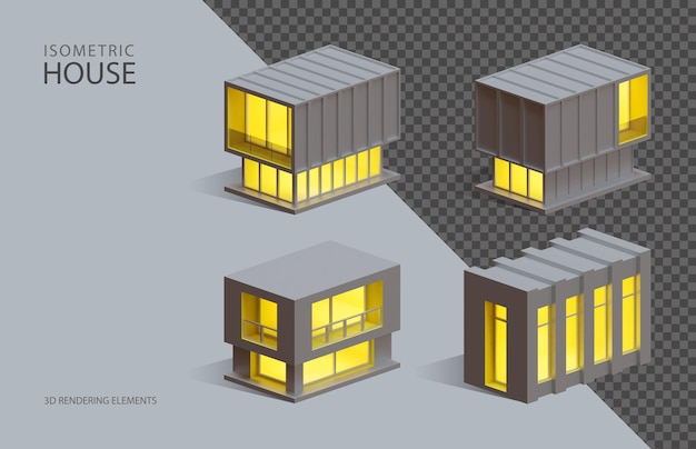 Vier isometrische 3d-rendering-isolierte elemente von kastenhäusern