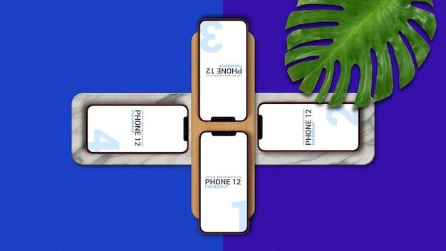 Vier smartphone-modelle für die präsentation der app-benutzeroberfläche
