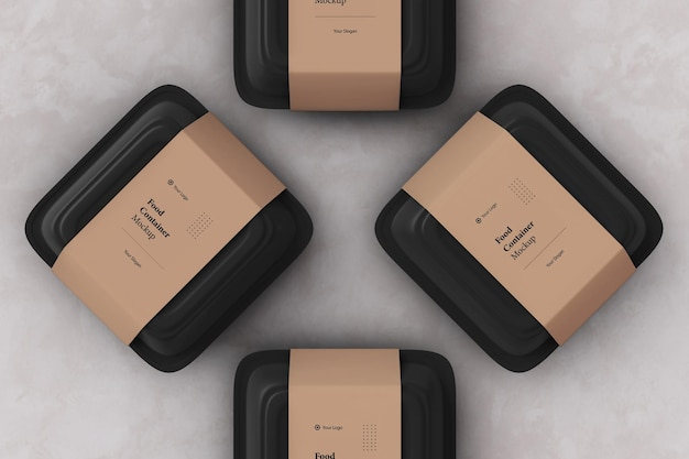 Vier verpackungen für lebensmittelbehälter zum mitnehmen mockup