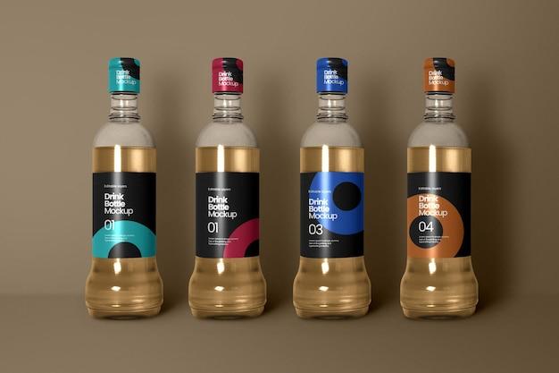 Vier weinflaschenmodell vorderansicht