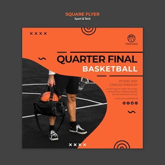 Viertelfinale basketball quadratische flyer vorlage