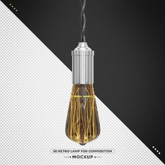 Vintage 3d render retro lampe mit aluminium-finish
