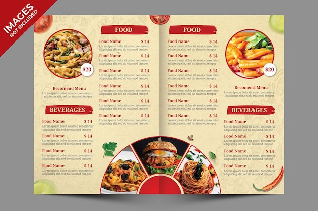 Vintage bifold food menu cover design premium psd vorlage