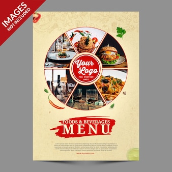 Vintage food menu cover design premium psd template