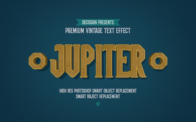Vintage jupiter-texteffektmodell