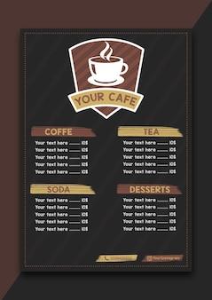 Vintage restaurant kaffee-menü