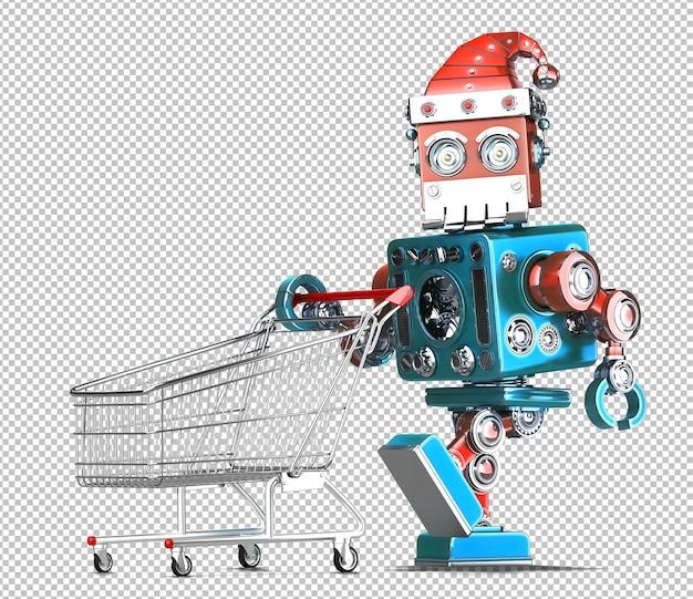 Vintage robot santa mit einkaufswagen. weihnachtskonzept. isoliert