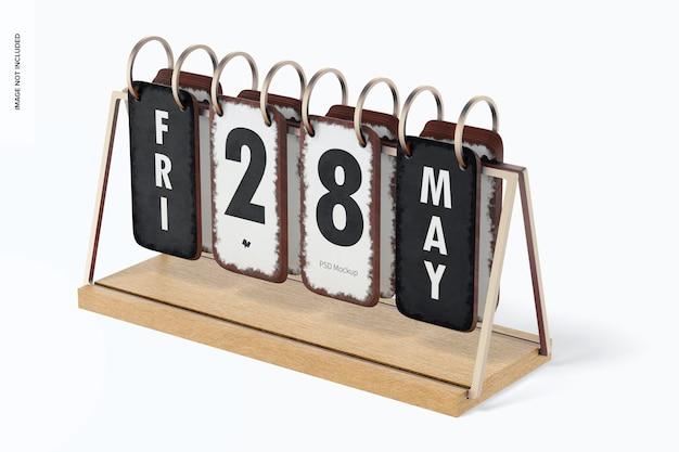 Vintage tischkalender mockup, rechte ansicht
