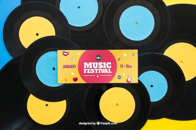 Vinyl-mockup mit banner