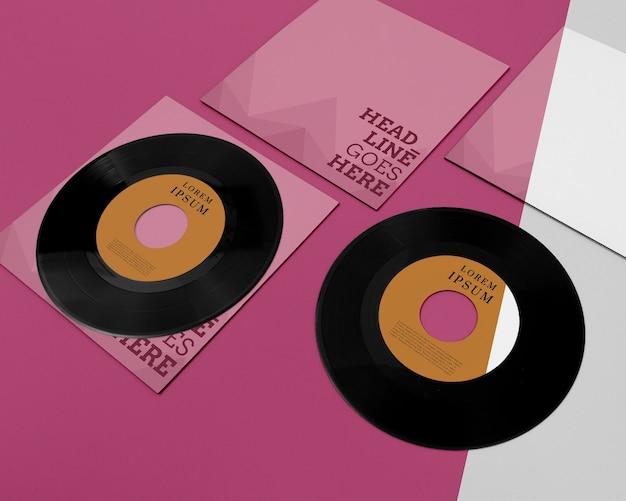 Vinyl nimmt mock-up-komposition auf