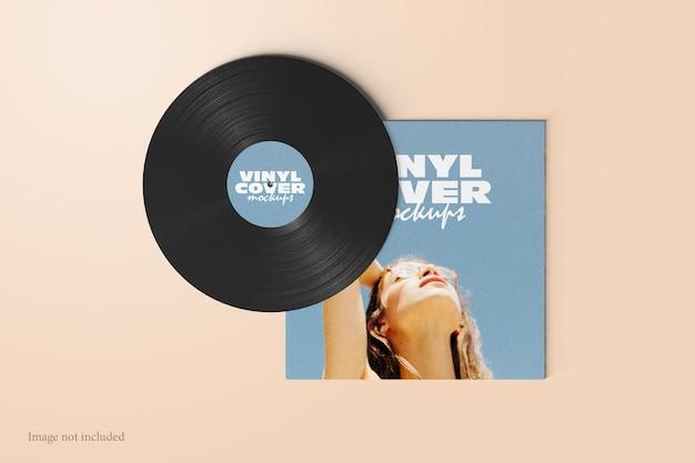 Vinyl-schallplatten-cover mockup ansicht von oben