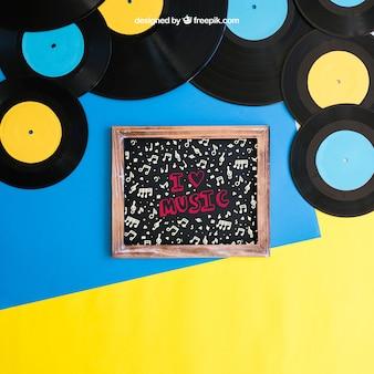 Vinyl und schiefer mockup
