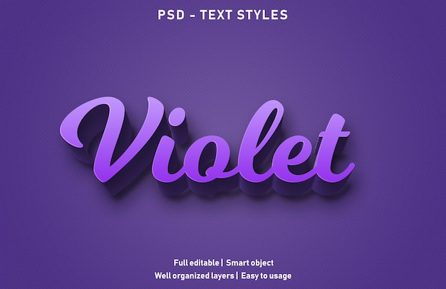 Violette texteffekte stil bearbeitbare psd