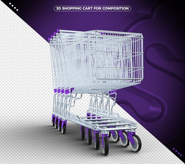 Violetter 3d-einkaufswagen isoliert