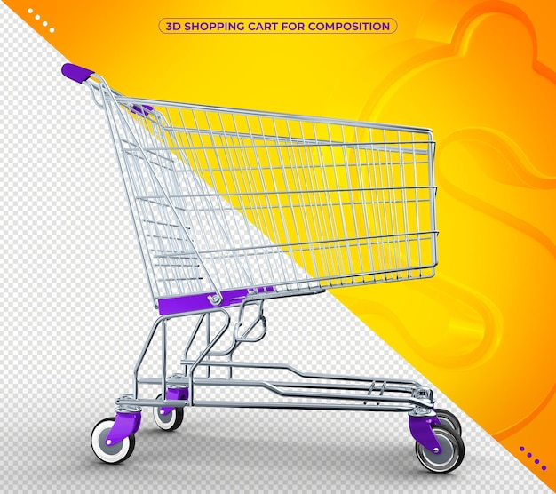 Violetter 3d-supermarktwagen in 3d-darstellung isoliert