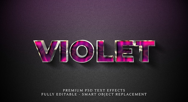 Violetter textstil-effekt psd, premium-psd-texteffekte