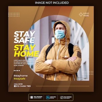Virenwarnung social media square post vorlage