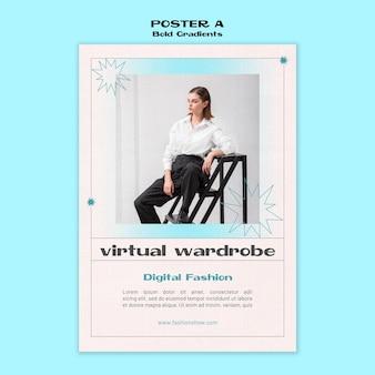Virtuelle garderobe poster vorlage