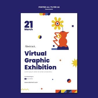 Virtuelle grafische ausstellung flyer vorlage