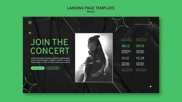 Virtuelle konzert-landingpage