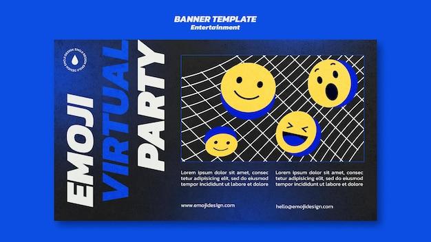 Virtuelle party-banner-vorlage von emoji