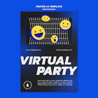 Virtuelle party poster vorlage