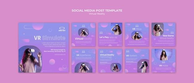Virtuelle realität spielen zusammen social media post
