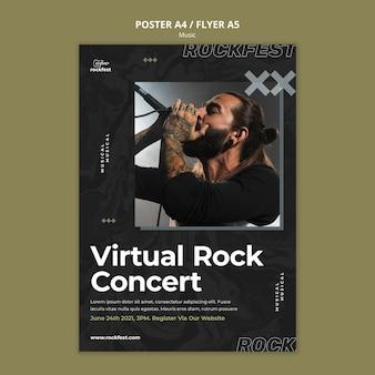Virtuelle rockkonzert-flyer-vorlage