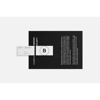 Visitenkarte auf schwarz broschüre mock up