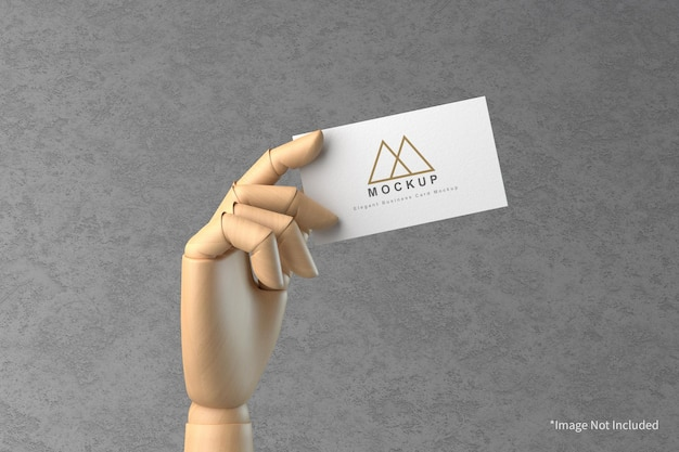 Visitenkarte im hölzernen handmodell