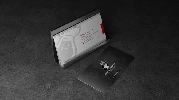 Visitenkarte im kartenhalter mockup