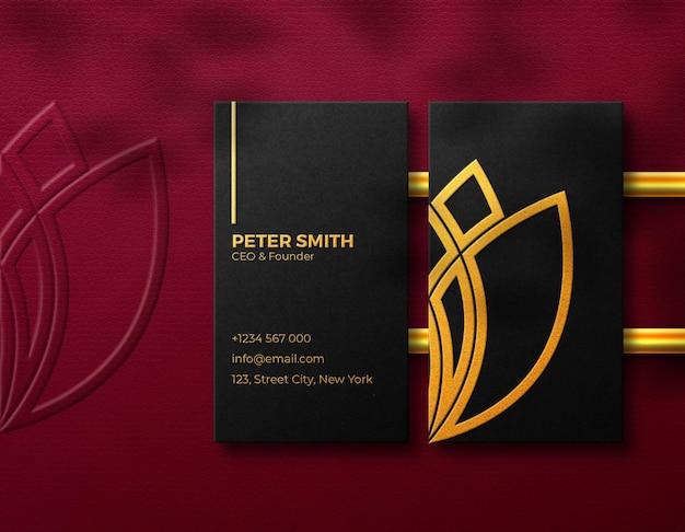 Visitenkarte mit logo-mockup luxury golden effekt
