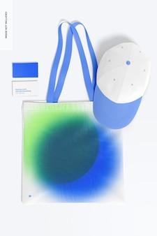 Visitenkarte mit merchandising-modell, draufsicht