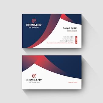 Visitenkarte rot weiß und dunkelblau dunkel