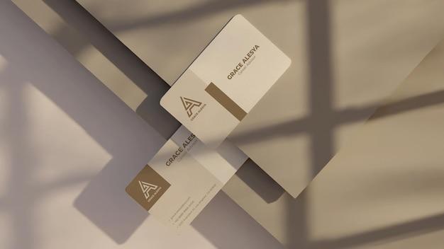 Visitenkarte weiß grau mockup 3d-rendering
