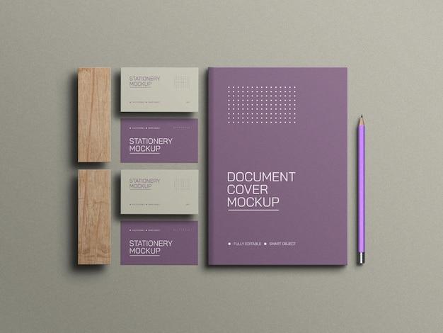 Visitenkarten mit a4-dokumentenbriefpapiermodell mit bleistift
