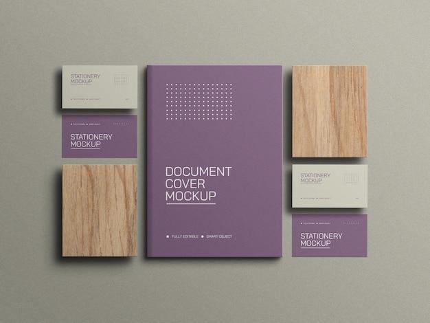 Visitenkarten mit a4-dokumentenbriefpapiermodell