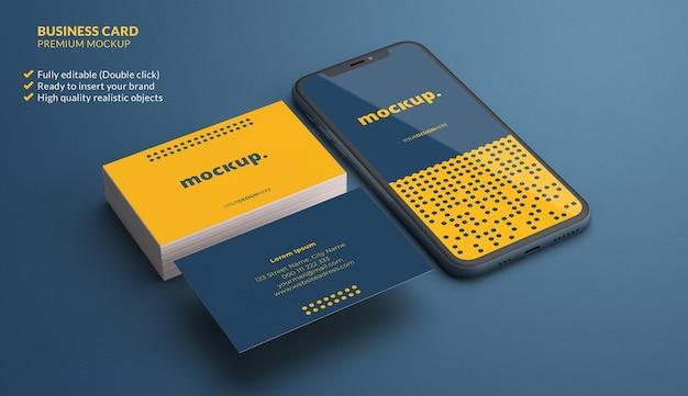 Visitenkarten und telefon für branding-modell
