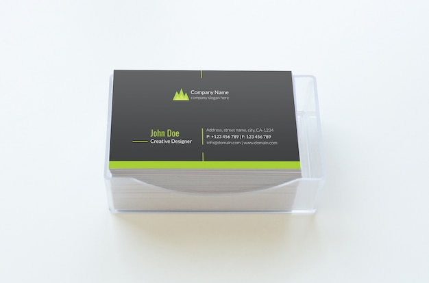 Visitenkartenmodell einseitig über plastikbox