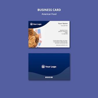 Visitenkartenschablone für amerikanisches lebensmittelrestaurant