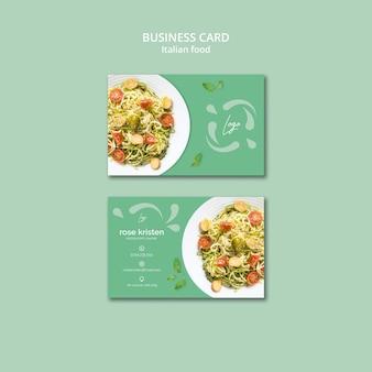 Visitenkartenschablone mit italienischem nahrungsmittelthema
