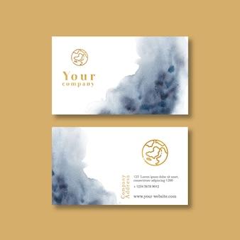 Visitenkartenvorlage mit aquarell brustrokes
