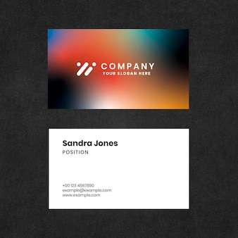 Visitenkartenvorlage mit farbverlauf psd für technologieunternehmen im modernen stil