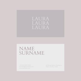 Visitenkartenvorlage psd in weiß- und grauton flatlay