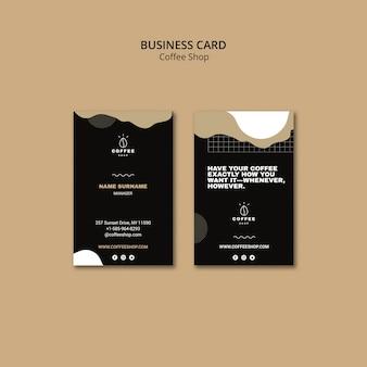 Visitenkarteschablonendesign für kaffeestube
