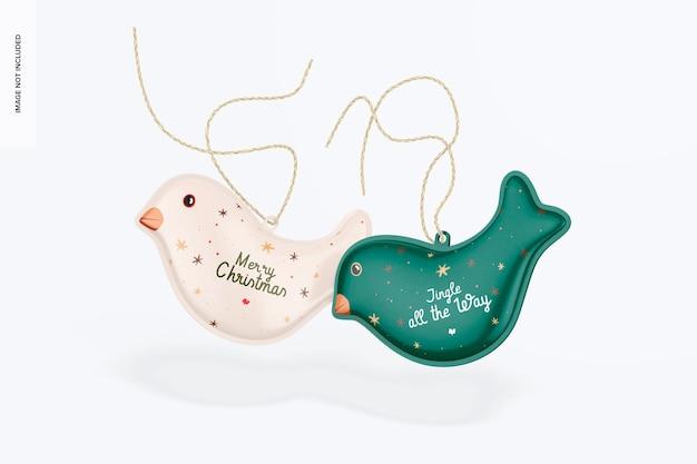 Vögel christmas ornament mockup falling